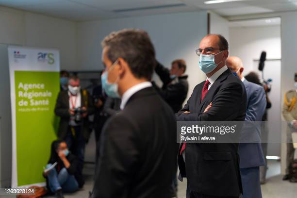 French Prime Minister Jean Castex visits ARS as part of a visit to Lille on August 03 2020 in Lille France The wearing of masks has been made...