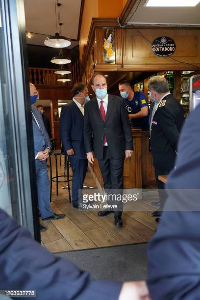 French Prime Minister Jean Castex visits Roubaix near Lille as part of a visit to Lille on August 03 2020 in Lille France The wearing of masks has...