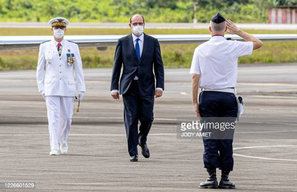 French Prime Minister Jean Castex visits the Matoury Air Base 367, on July 12, 2020 in Matoury, near Cayenne, in the French overseas department of...