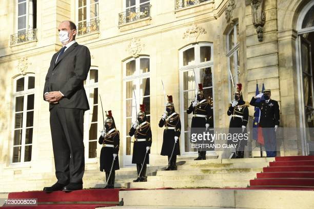 French Prime Minister Jean Castex waits for the arrival of Egyptian president Abdel Fattah al-Sisi at the Matignon hotel on December 8, 2020 in...