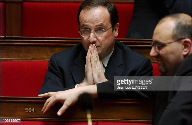 French Prime Minister Jean Pierre Raffarin Presents His New Cabinet Political Planning At The French National Assembly On April 5 2004 In Paris...