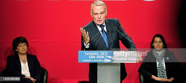 French Prime Minister JeanMarc Ayrault delivers a speech at the Gare SaintSauveur show room on October 6 2012 in Lille northern France as part of the...