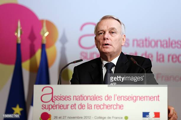 French Prime minister JeanMarc Ayrault delivers a speech on November 26 2012 at the elite research institution College de France in Paris during the...