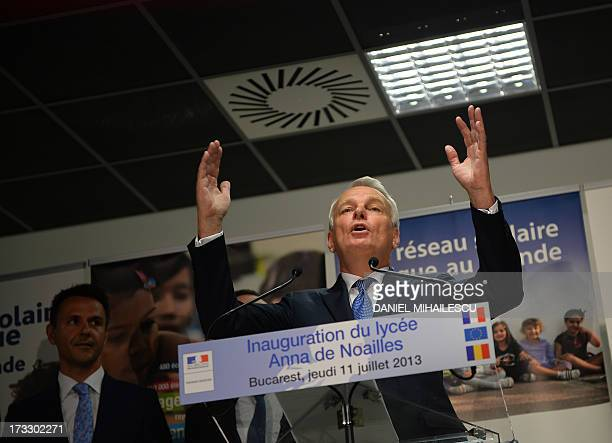 French Prime Minister JeanMarc Ayrault speaks during the opening ceremony of The French High School Anna de Noailles with Romanian Prime Minister in...