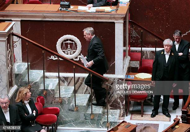 French Prime Minister JeanMarc Ayrault walks un steps to deliver a speech during a debate on the extention of the French Operation Sangaris military...