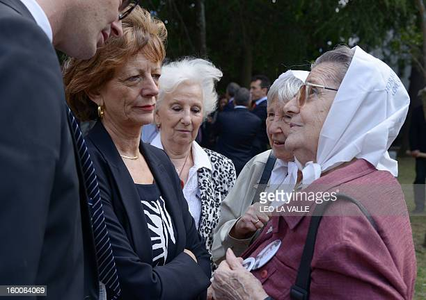 French Prime Minister JeanMarc Ayrault's wife Brigitte Ayrault talks to Madres de Plaza de Mayo members and Abuelas de Plaza de Mayo's president...