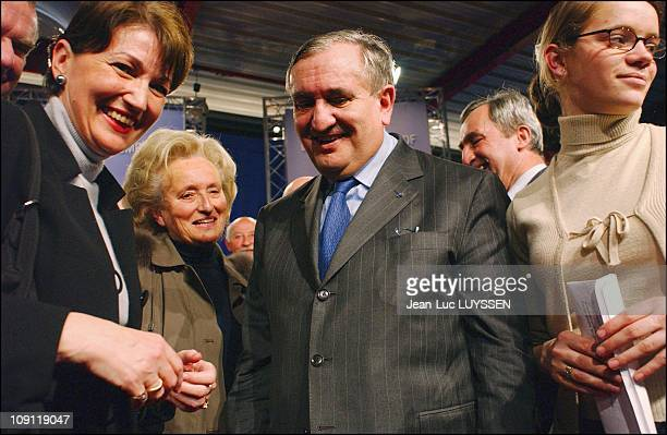 French Prime Minister Jean-Pierre Raffarin And Mrs Bernadette Chirac Support Raymond Archer For The 2Nd Round Of The Regional Election In The Area Of...