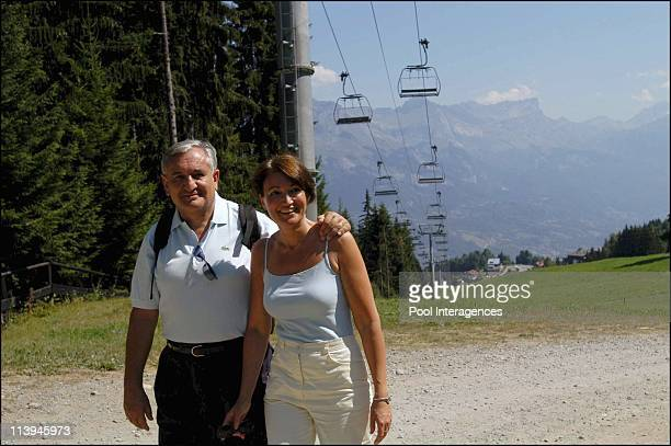 French Prime Minister Jean-Pierre Raffarin and wife Anne-Marie on vacation In Combloux, France On August 03, 2003 -Jean-Pierre and Anne-Marie...