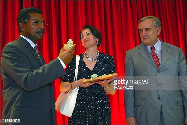 French Prime Minister Jean-Pierre Raffarin In Saint Denis, Reunion On February 23, 2003-UMP deputy mayor of the town, Rene-Paul Victoria, Mrs...