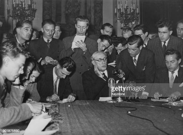 French Prime Minister Léon Blum holds his first press conference after his election in Paris France 16th December 1946