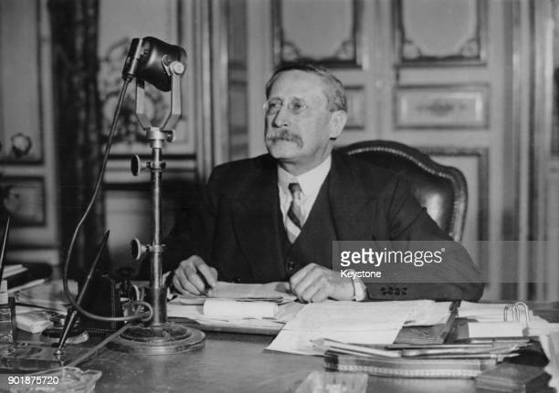 French Prime Minister Léon Blum makes a radio broadcast France 7th March 1937