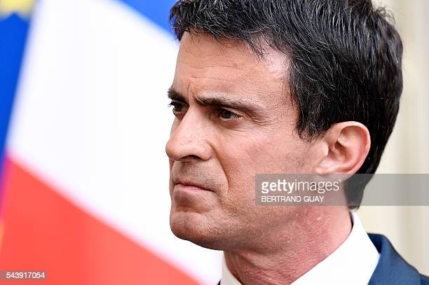French Prime Minister Manuel Valls addresses the media after holding a series of meetings with heads and delegates of France's employers' unions...