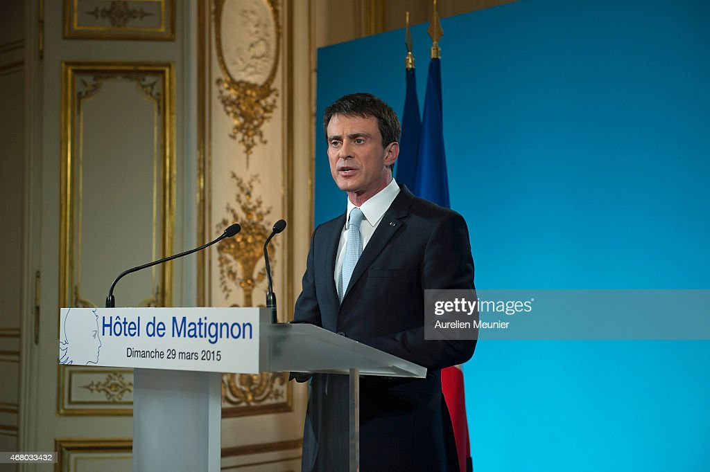 French Prime Minister Manuel Valls Delivers A Speach After the 2nd Round Of French Departmental Local Elections : News Photo