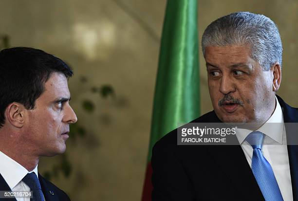 French Prime Minister Manuel Valls and his Algerian counterpart Abdelmalek Sellal speaks during a press conference at the government palace in the...