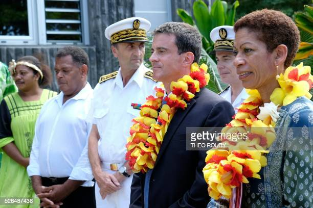 French Prime minister Manuel Valls and Overseas minister George Pau Langevin are pictured during a welcoming ceremony at Hienghene town hall on April...