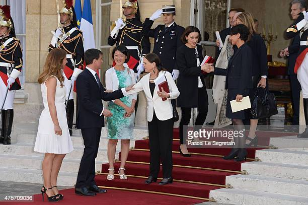 French Prime Minister Manuel Valls and wife Anne Gravoin Luisa Valls Fleur Pellerin Najat VallaudBelkacem and Spanish singer Luz Casal attend a lunch...