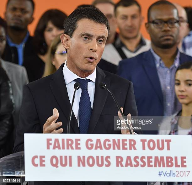 French Prime Minister Manuel Valls announces his presidential bid for the 2017 election during a press conference in the southern Paris suburb of...