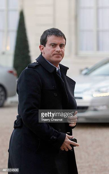 French Prime minister Manuel Valls arrives at the Elysee Palace for a meeting between France's Jewish associations and the French President on...