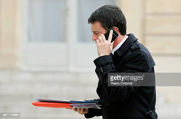French Prime minister Manuel Valls arrives at the Elysee Palace in Paris for a crisis cabinet meeting on November 14 2015 in Paris France This...