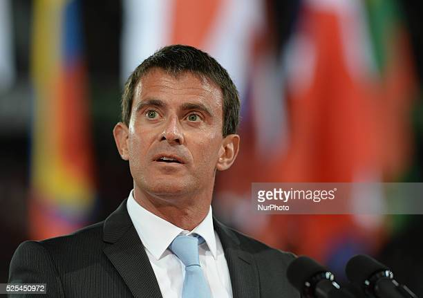 French Prime Minister Manuel Valls declares the Games open during the Opening Ceremony of the ALLTECH FEI WORLD EQUESTRIAN GAMES 2014 at Stade...