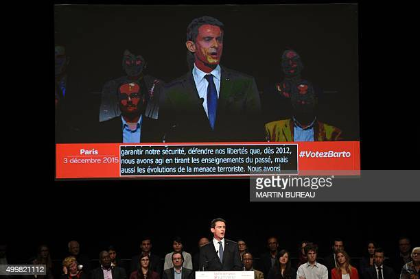 French Prime Minister Manuel Valls delivers a speech during a public meeting of the French Socialist party top candidate for the regional elections...