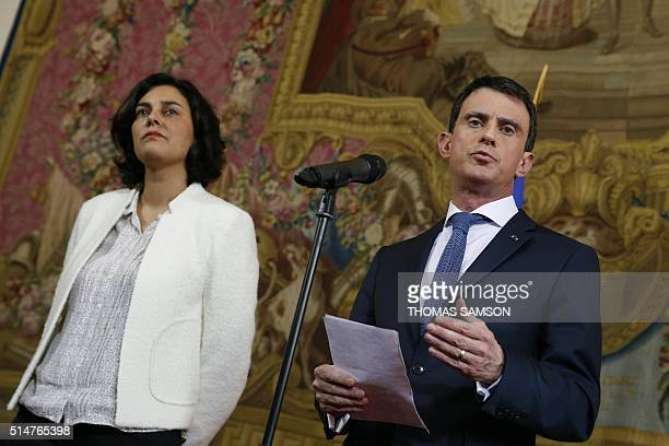 French Prime Minister Manuel Valls delivers a speech next to French Labour minister Myriam El Khomri following his meeting with students union...