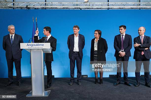 French Prime Minister Manuel Valls delivers a speech next to Socialist Party president of the Grand Angouleme cosmopolitan area JeanFrancois Daure...