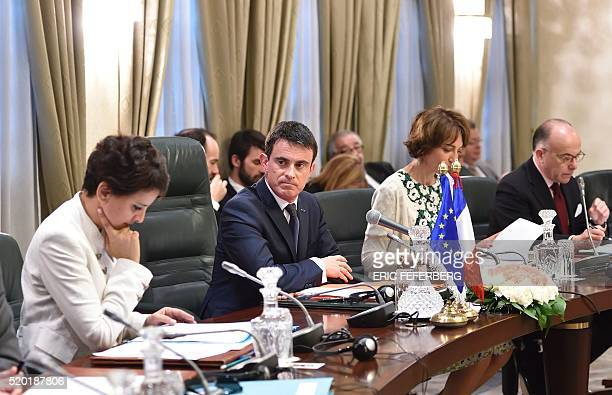 French Prime minister Manuel Valls French Education minister Najat VallaudBelkacem French minister for Social Affairs Health and Women's Rights...