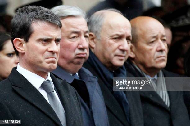 French Prime Minister Manuel Valls, French Senate President Gerard Larcher, Foreign Affairs Minister Laurent Fabius and Defense Minister Jean-Yves Le...