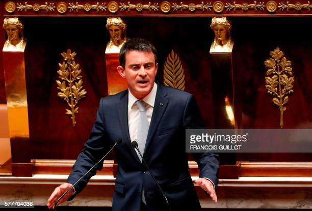 French Prime Minister Manuel Valls gestures as he speaks during a debate aiming at extending the country's state of emergency for a fourth time at...