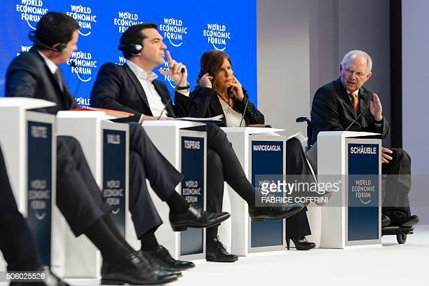 French Prime Minister Manuel Valls Greek Prime Minister Alexis Tsipras Eni company Chairman of the Board Emma Marcegaglia and German Finance Minister...