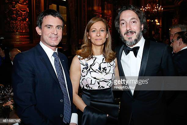 French Prime Minister Manuel Valls his wife violonist Anne gravoin and actor Guillaume Gallienne attend Weizmann Institute celebrates its 40...