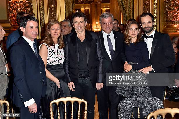 French Prime Minister Manuel Valls his wife violonist Anne Gravoin Patrick Bruel CEO Dior Paris Sydney Toledano actress Natalie Portman and National...