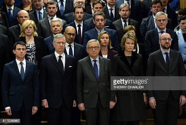 French Prime Minister Manuel Valls King Philippe of Belgium European Union Commission president JeanClaude Juncker Queen Mathilde of Belgium and...
