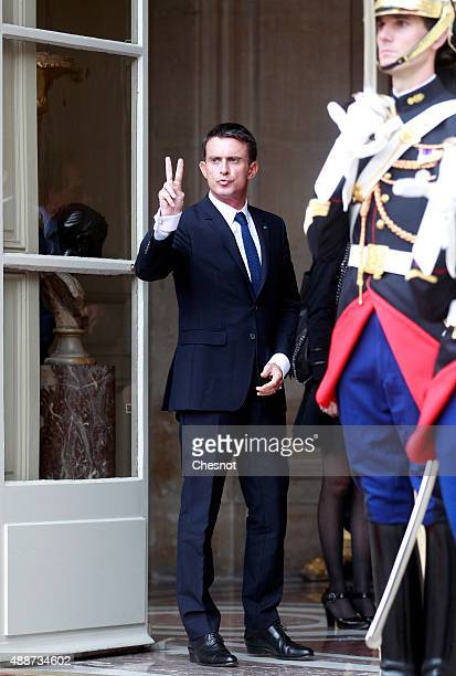 French Prime Minister Manuel Valls looks on as Hwang KyoAhn Korea's Prime Minister leaves after their meeting at Matignon on September 17 2015 in...