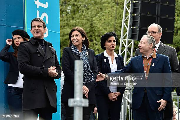 French Prime Minister Manuel Valls Major of Paris Anne HidalgoRachida Dati Prince Albert II of Monaco and Jean Todt attend the podium ceremony after...