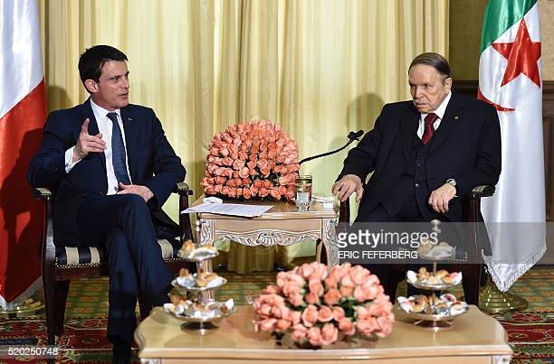 French Prime Minister Manuel Valls meets Algerian President Abdelaziz Bouteflika at his residence during an official visit on April 10 2016 in...