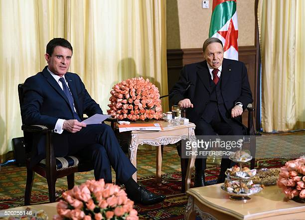 French Prime Minister Manuel Valls meets Algerian President Abdelaziz Bouteflika at his residence in Zeralda a suburb of the capital Algiers during...