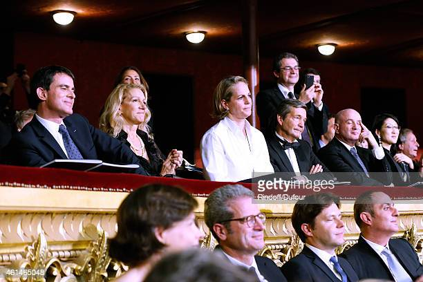 French Prime Minister Manuel Valls Patricia Brechot Baronesss Benjamin de Rothschild General Director of Pasteur Institute Christian Brechot...