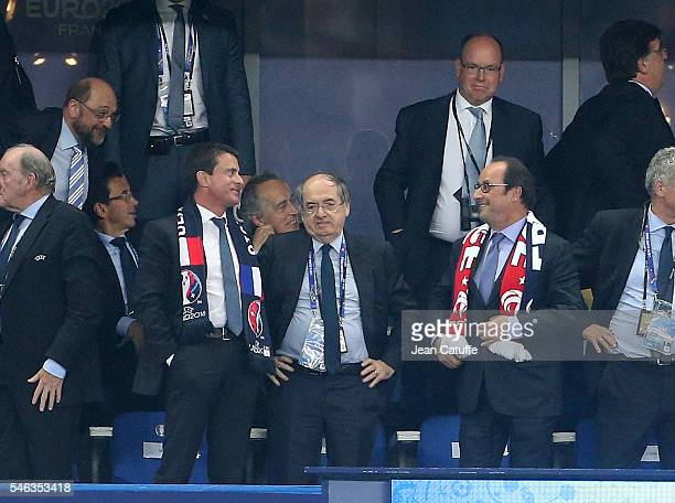 French Prime Minister Manuel Valls, President of French Football Federation FFF Noel Le Graet, President of France Francois Hollande and above Prince...