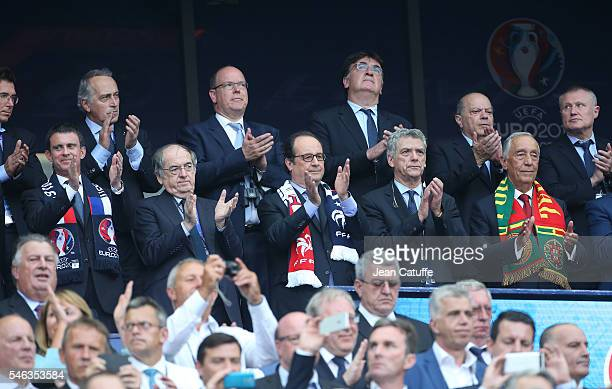 French Prime Minister Manuel Valls, President of French Football Federation FFF Noel Le Graet, President of France Francois Hollande, Angel Maria...