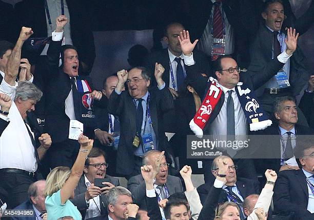 French Prime Minister Manuel Valls President of French Football Federation Noel Le Graet President of France Francois Hollande celebrate the first...