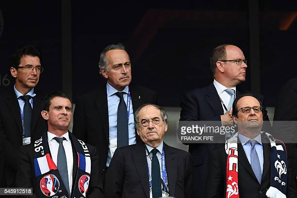 French Prime Minister Manuel Valls, President of the French Football Federation Noel Le Graet, French President Francois Hollande, and from top right...