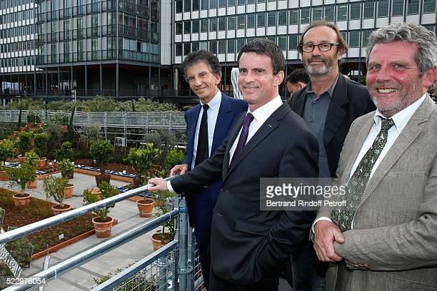 French Prime Minister Manuel Valls President of the 'Institut du Monde Arabe' Jack Lang Creator of the 'Anamorphose' Anamorphosis Francois Abelanet...
