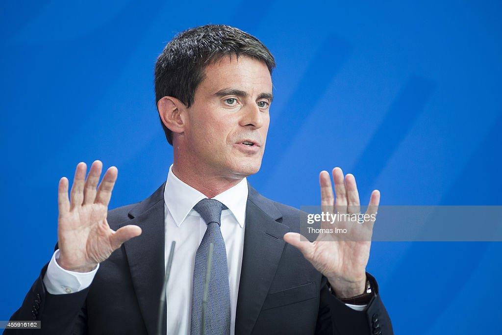 French Prime Minister Manuel Valls speak to the media following talks with German Chancellor Angela Merkel (not pictured) at the Chancellery on September 22, 2014 in Berlin, Germany. Valls is on a two-day visit to Germany at a time when Merkel has been critical of the slow pace of French economic reforms.