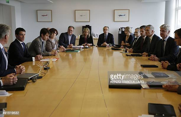 French Prime minister Manuel Valls takes part in a meeting with Air France Executive Vice President in charge of Human Resources and Labour Relations...