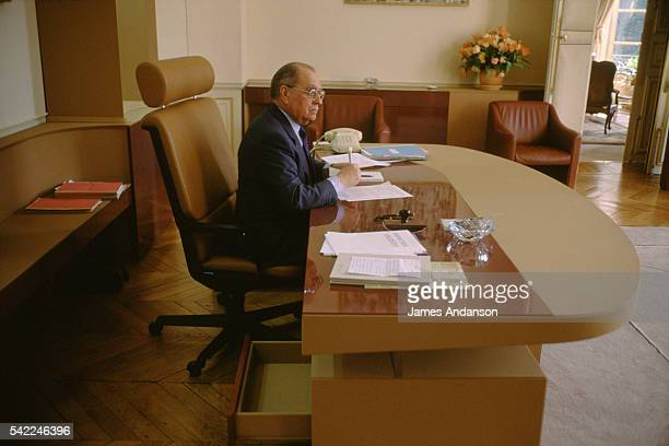 French Prime Minister Pierre Beregovoy in his office at Hotel Matignon two days after he was appointed Prime Minister