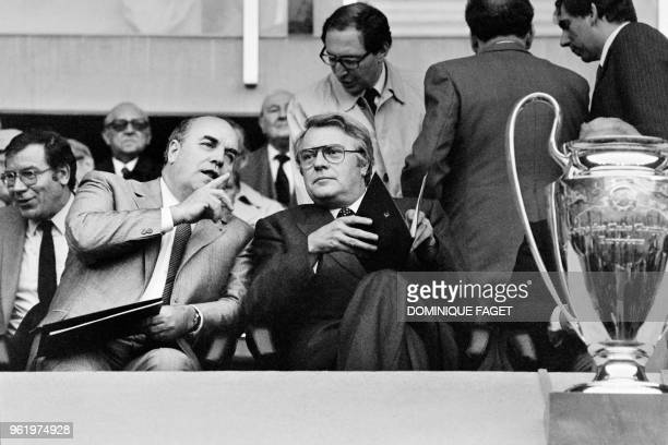 French Prime Minister Pierre Mauroy attends the European Cup final football match between Liverpool and Real Madrid at the Parc des Princes stadium...