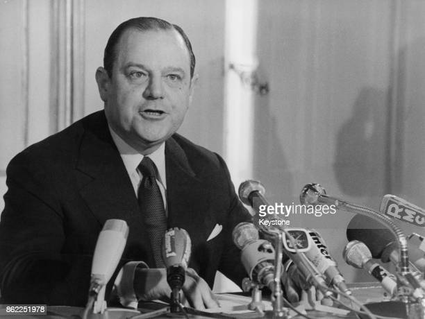 French Prime Minister Raymond Barre during a press conference at the Hotel Matignon in Paris after Jacques Chirac's announcement that he would be...