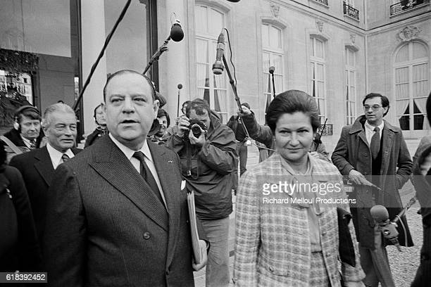 French Prime Minister Raymond Barre with Minister of Health Simone Veil attend his last council of ministers at the Elysee Palace